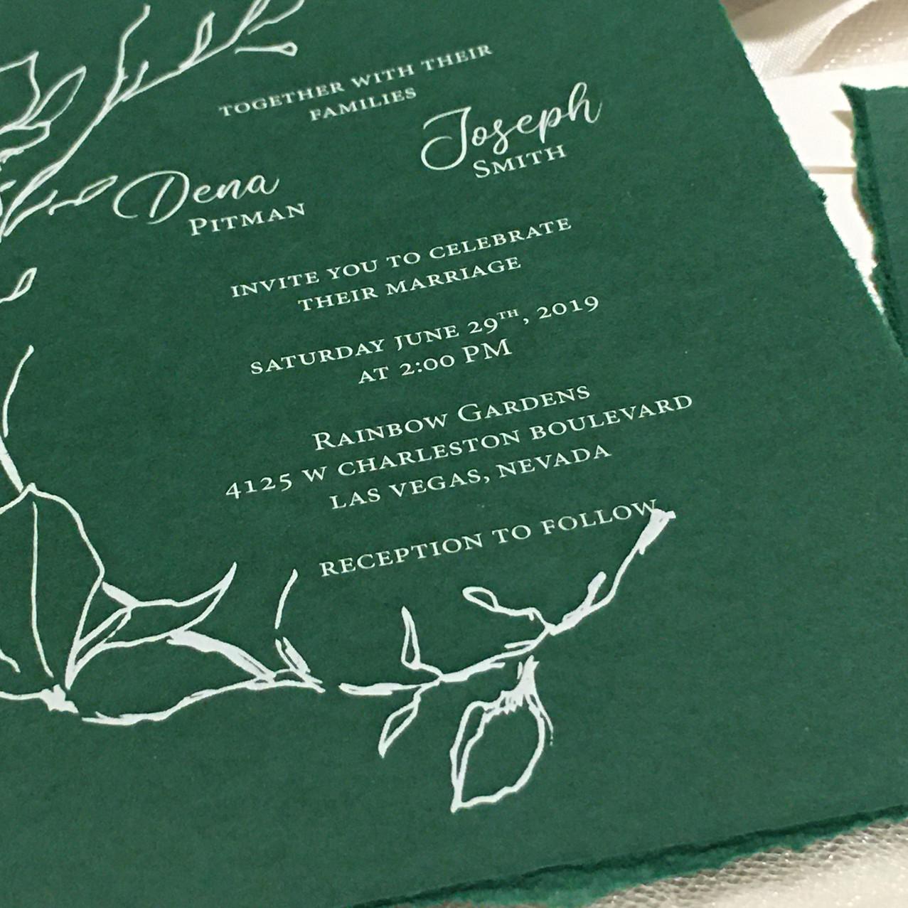 Green Wedding Invitation - amira Design
