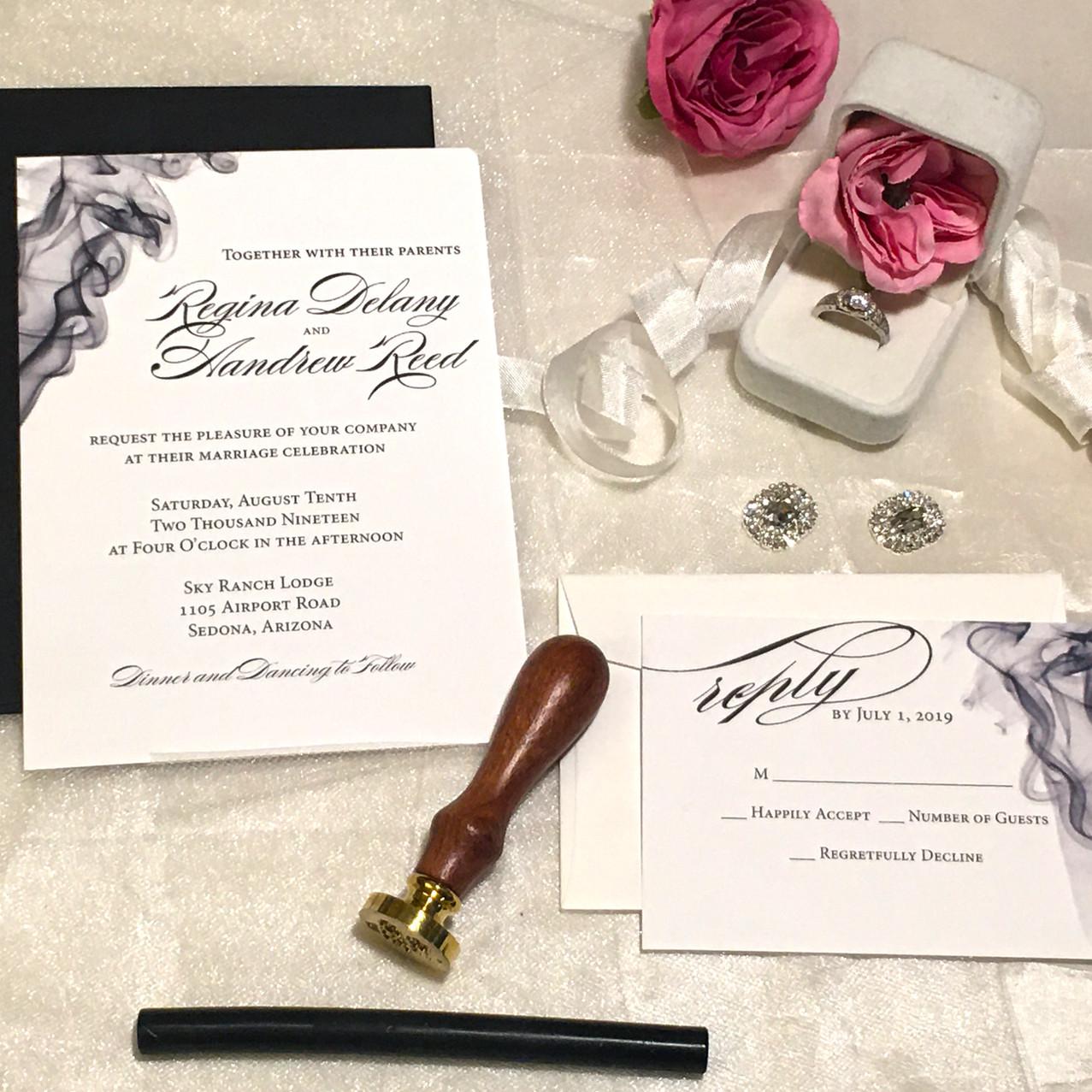 Modern Gray Wedding Invitation - Amira D