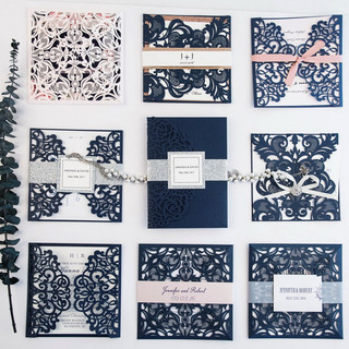 Laser cut Invitations - Navy
