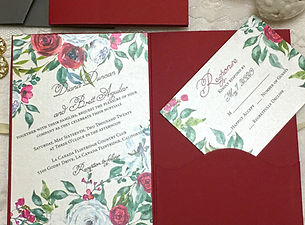 Red Wine and roses wedding Invitations