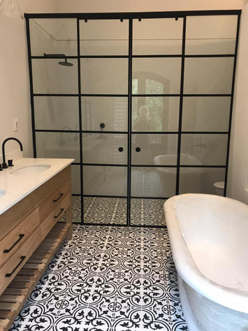 Frameless Shower with Colonial Bar