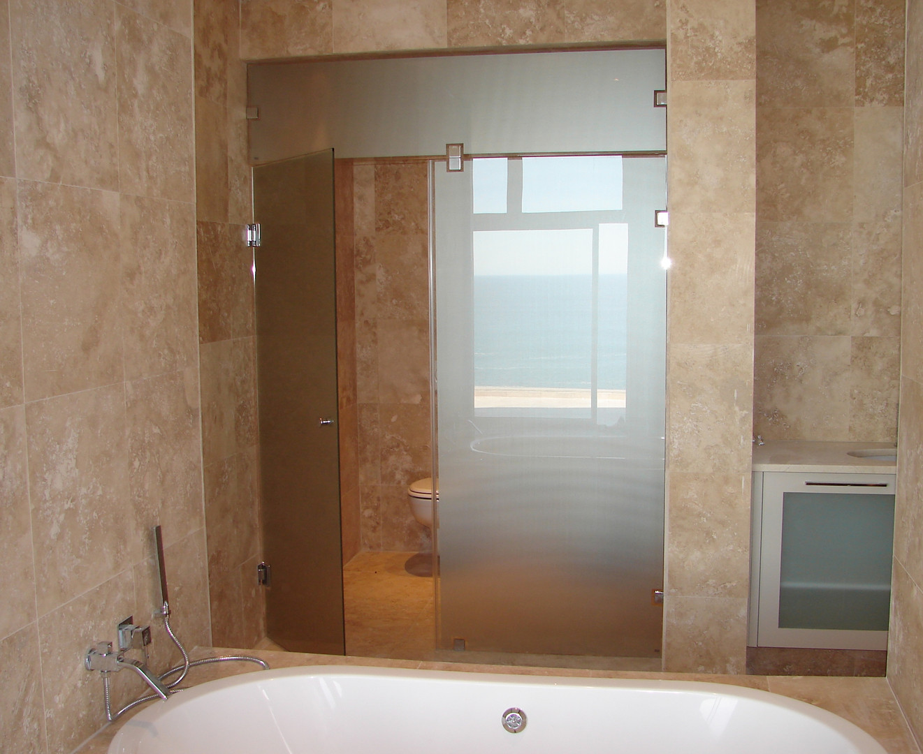 Treated Glass Toilet Partition