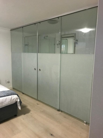 Bedroom partition with vinyl frosting