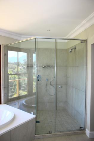 Angled Corner Shower w/ header rails