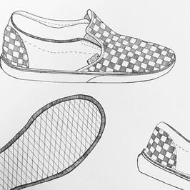 Contour Line Shoe Drawing