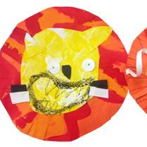 Painted Paper-Cut Lions