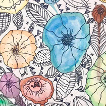 Watercolor and Sharpie Floral Illustrations