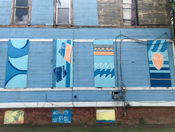 2019 16 panel mural board-up project with the Arts Commission and First Federal Bank volunteers Toledo, OH