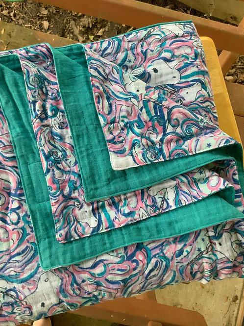 Embrace Unicorn/Teal THROW Blanket