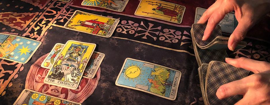 Susan Brockmeier with a Tarot Card layout and reading.