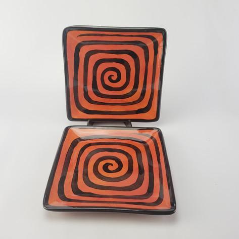 Red Confetti Square Plates
