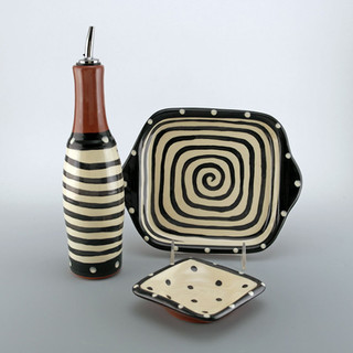 Spiral Oil, Tray and Dipping Dish