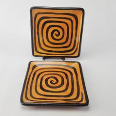 Orange Confetti 9 inch square plates