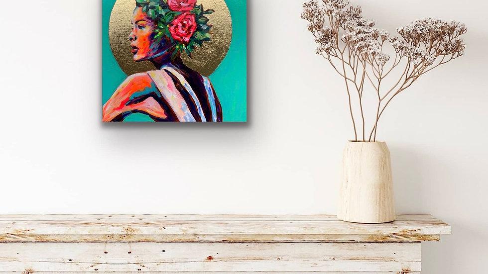 """""""Amara"""" 12x12 Acrylic Gold Leaf Canvas"""