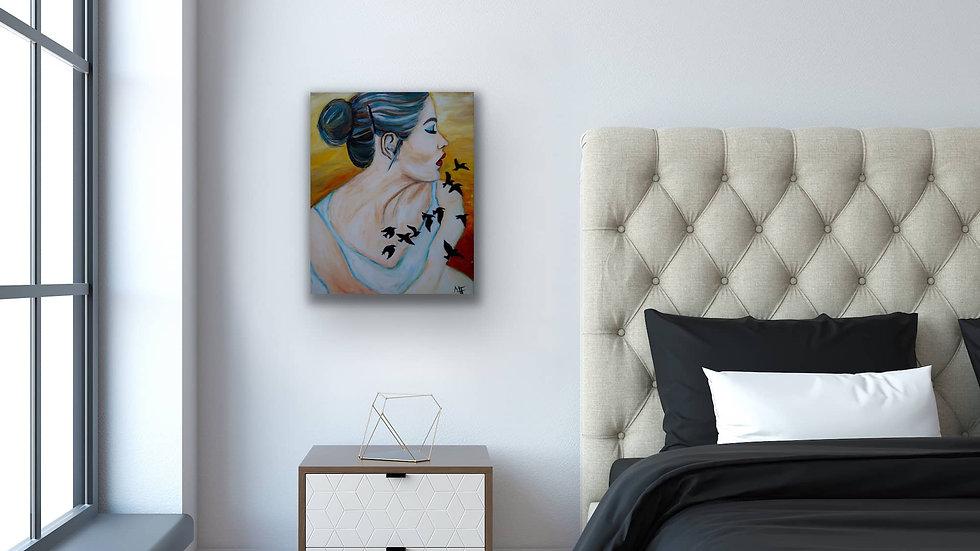 """Blackbird"" 20x16 Hand Painted Original Acrylic Canvas"