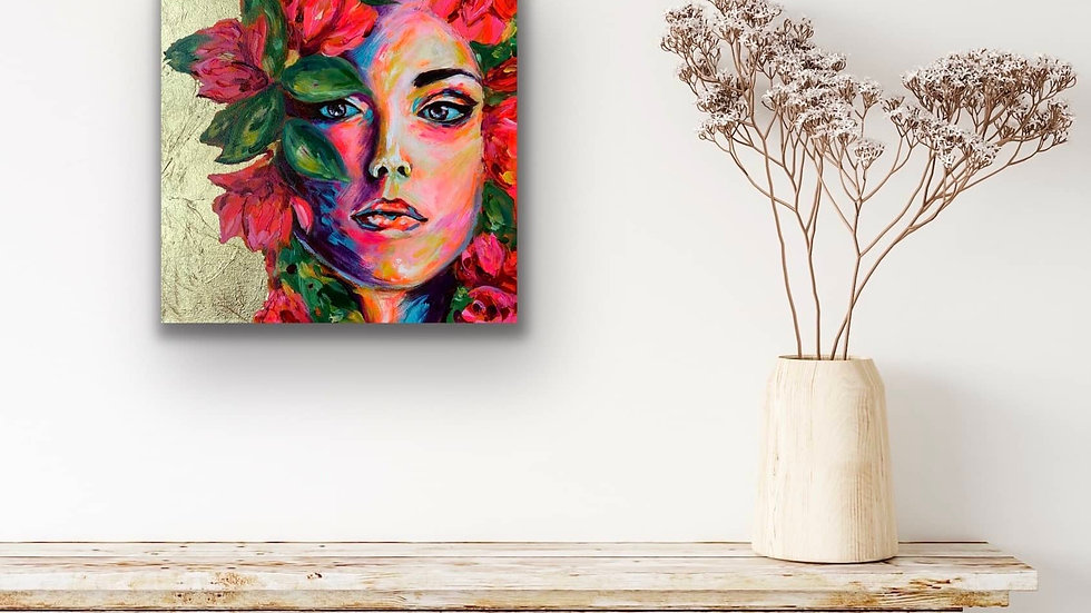"""Nova"" 12x12 Acrylic Gold Leaf Canvas"