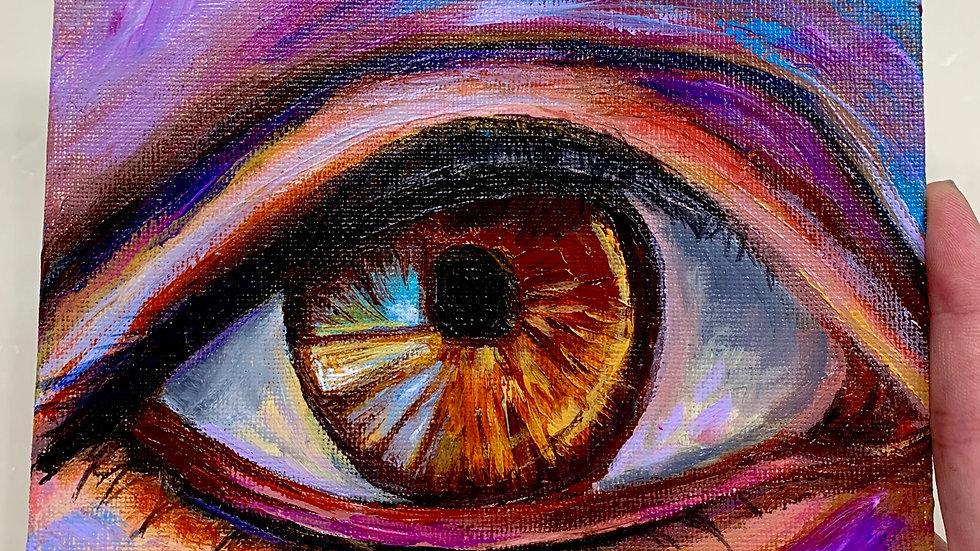 """Eye of Kindness"" 6x6 Acrylic canvas panel"