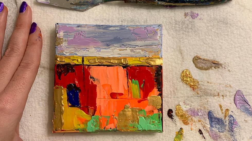 """""""Quiet Afternoons"""" 4x4 Acrylic stretched cotton canvas"""
