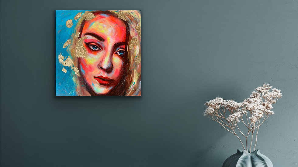 """Akiko"" 12x12 Acrylic Stretched Canvas"