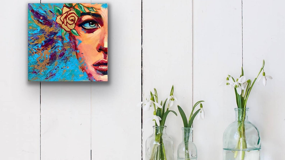 """Kindra"" 12x12 Acrylic Stretched Canvas Gold Leaf"