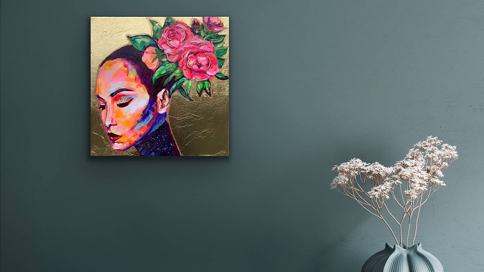 """Ramona"" 12x12 Acrylic Stretched Canvas Gold Leaf"