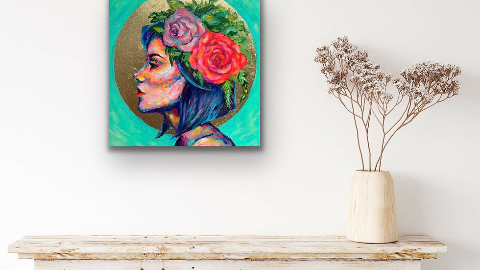 """Aveline"" 12x12 Acrylic Gold Leaf Canvas"