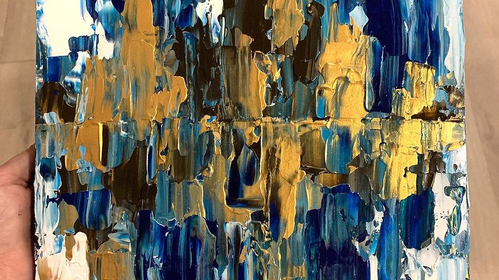 """""""Fools Gold"""" 10x10 Acrylic  Wood Canvas"""