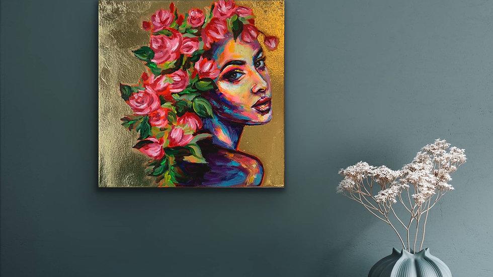 """""""Stella"""" 12x12 Acrylic Stretched Canvas Gold Leaf"""