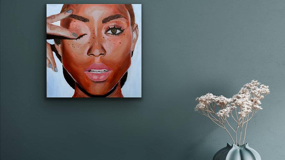 """Cyndi"" 12x12 Hand Painted Original Acrylic Canvas"