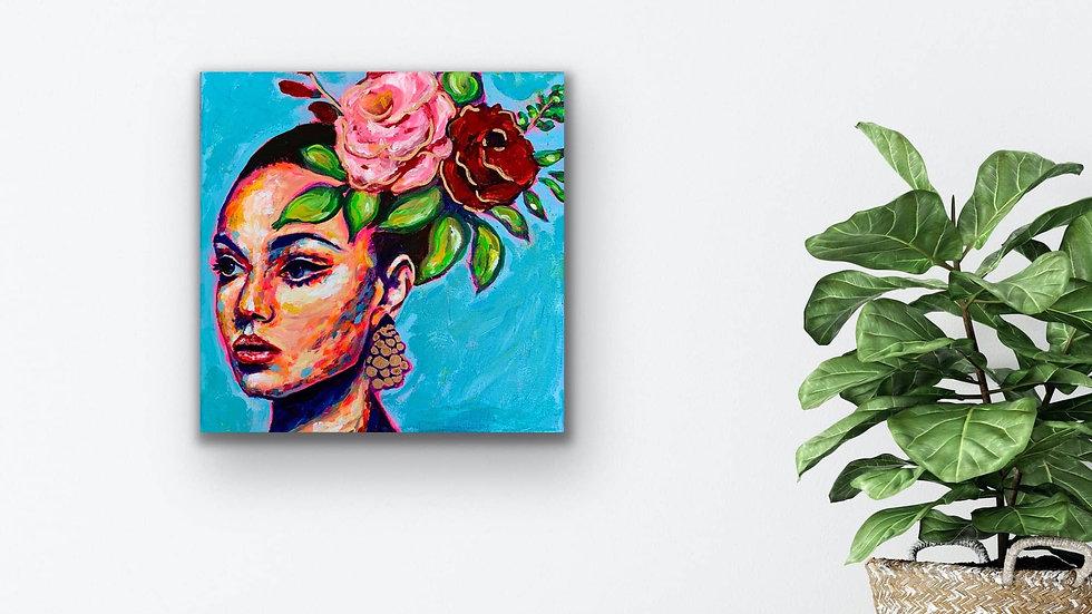 """""""Samadhi"""" 12x12 Acrylic Liquid Gold Leaf Stretched Canvas"""