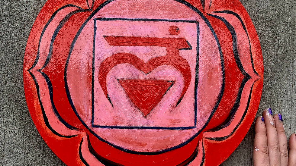 """""""Root Chakra"""" Acrylic 12x12 Round Stretched Canvas"""
