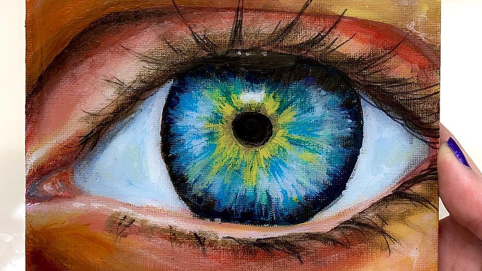 """Eye on the Prize"" 6x6 acrylic canvas panel"