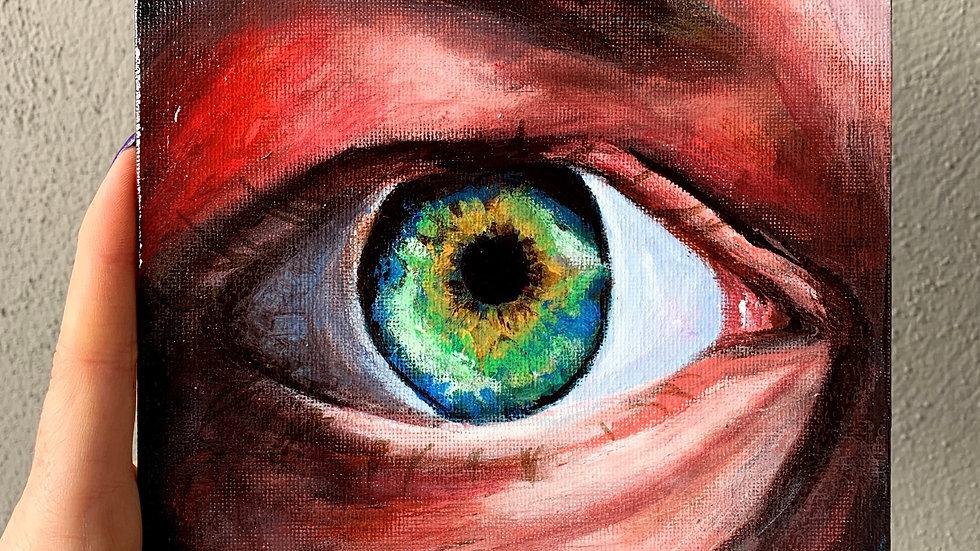 """Eye of Determination"" 6x6 Acrylic canvas panel"