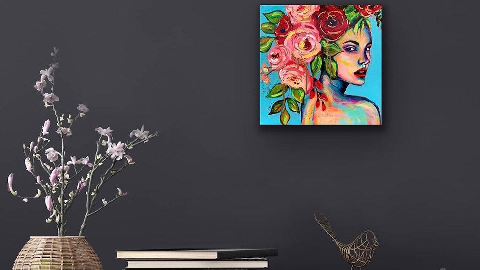 """Alzena"" 12x12 Acrylic Stretched Canvas Liquid Gold Leaf"