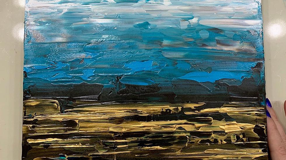 """Celestial Tides"" 10x10 acrylic wood canvas"