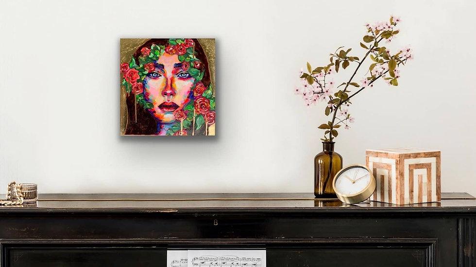 """""""Rae"""" 12x12 Acrylic Gold Leaf Stretched Canvas"""