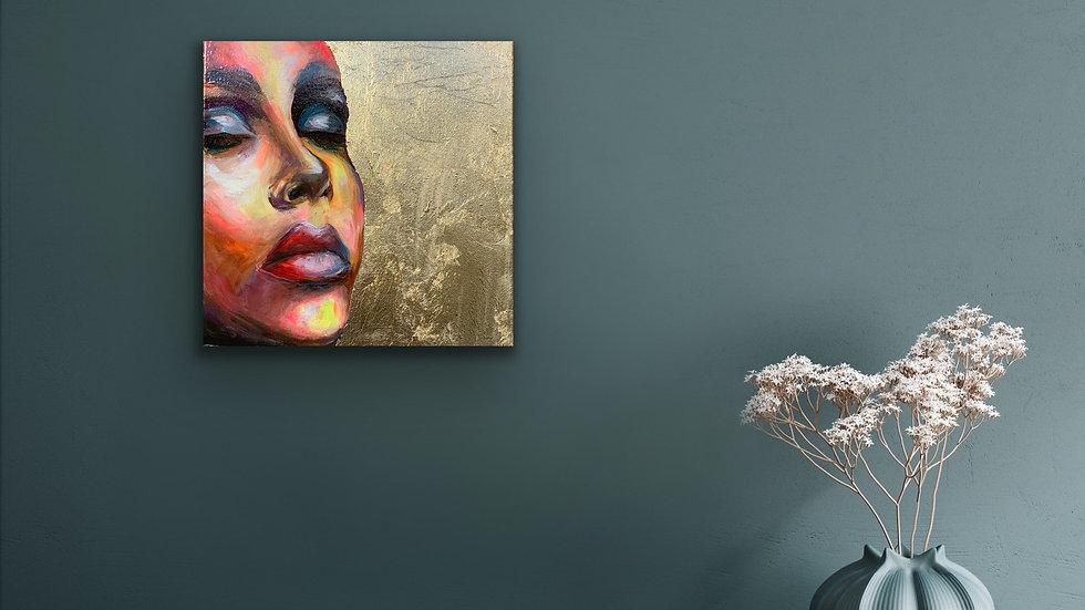"""Auriel"" 12x12 Acrylic and Gold Leaf Stretched Canvas"
