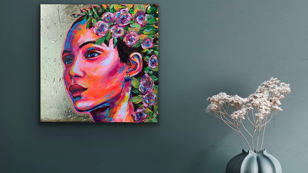 """Astra"" 12x12 Acrylic Gold Leaf Stretched Canvas"