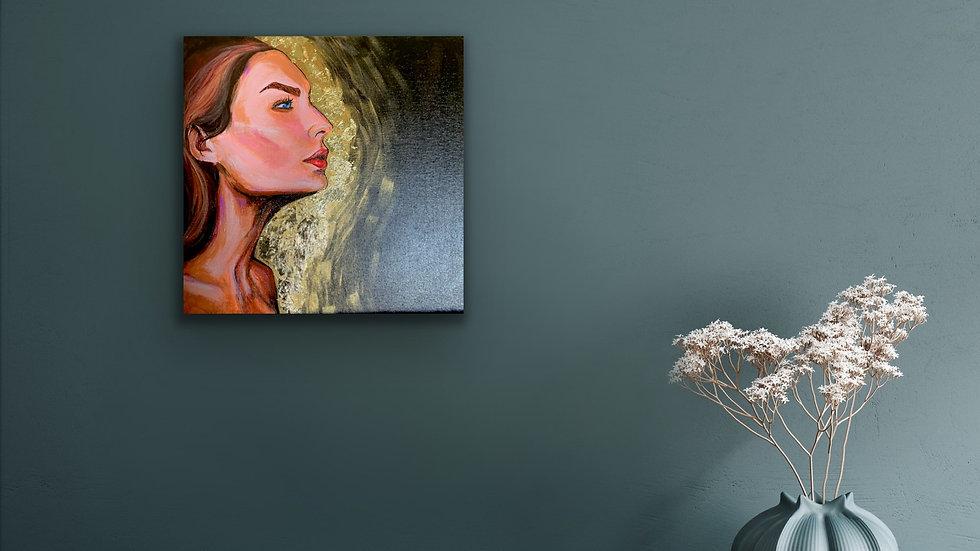 """Goldie"" 12x12 Acrylic canvas panel"