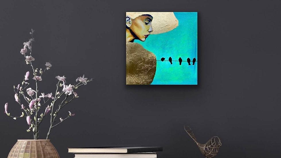 """Tenacious Spirit"" 12x12 Acrylic Gold Leaf Stretched Canvas"