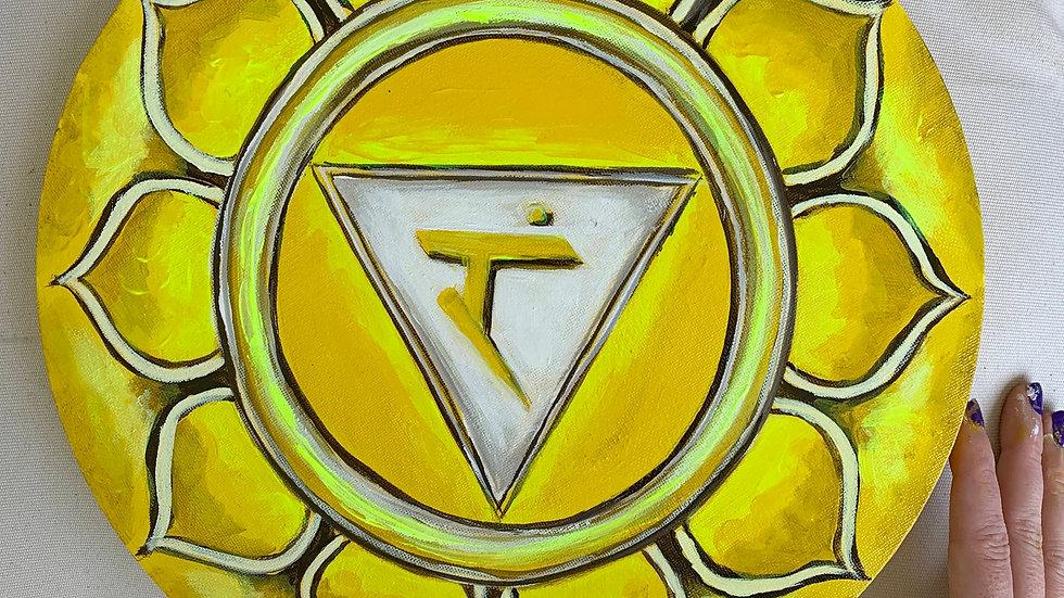 """Solar Plexus Chakra"" Acrylic 12x12 Round Stretched Canvas"