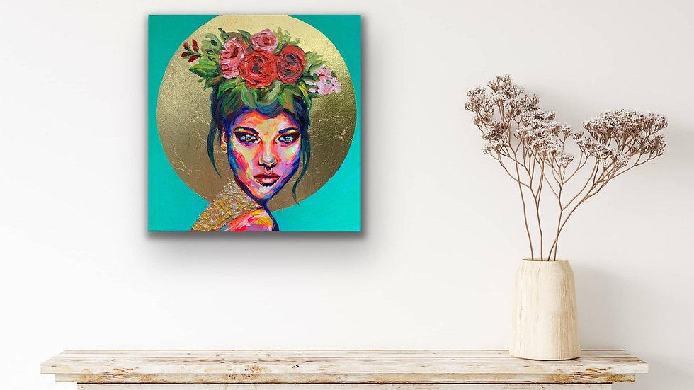"""""""Mako"""" 12x12 Acrylic Gold Leaf Canvas"""