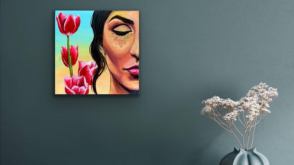 """Divine Feminine"" 12x12 Acrylic Gold Leaf Stretched Canvas"
