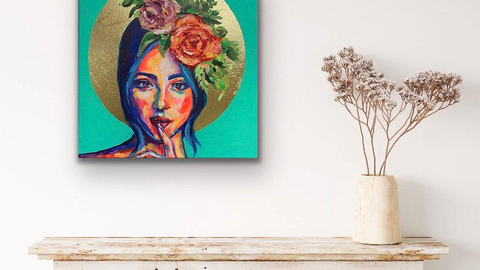 """""""Brooklyn"""" 12x12 Acrylic Gold Leaf Canvas"""