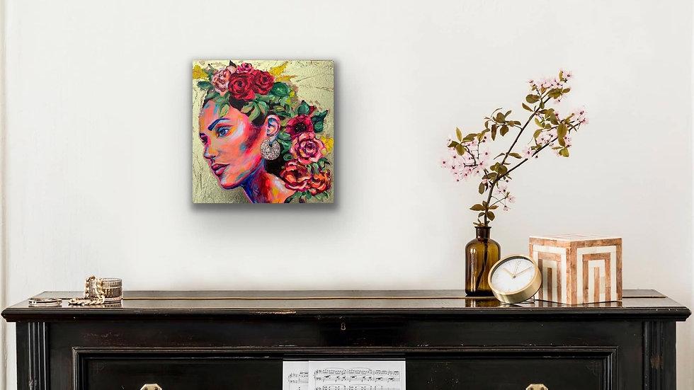 """Salma"" 12x12 Acrylic Stretched Canvas Original"