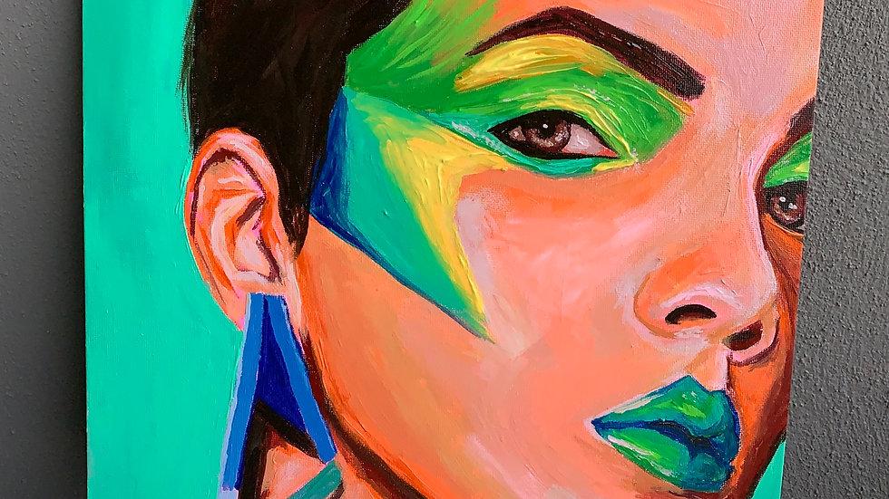 """Mercilla"" 12x12 acrylic canvas panel"