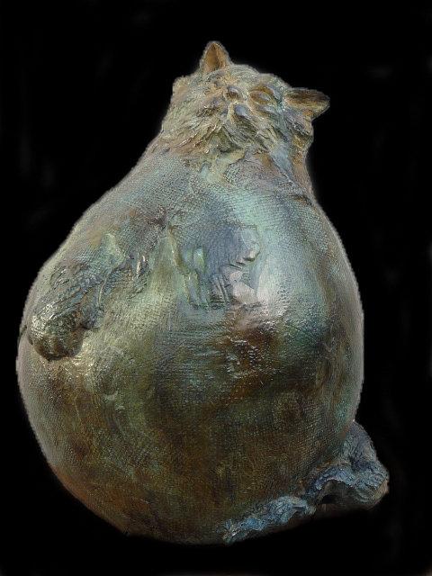 Chat boule, bronze