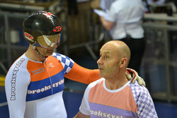 Steve pushing Phil off in Sprint Final