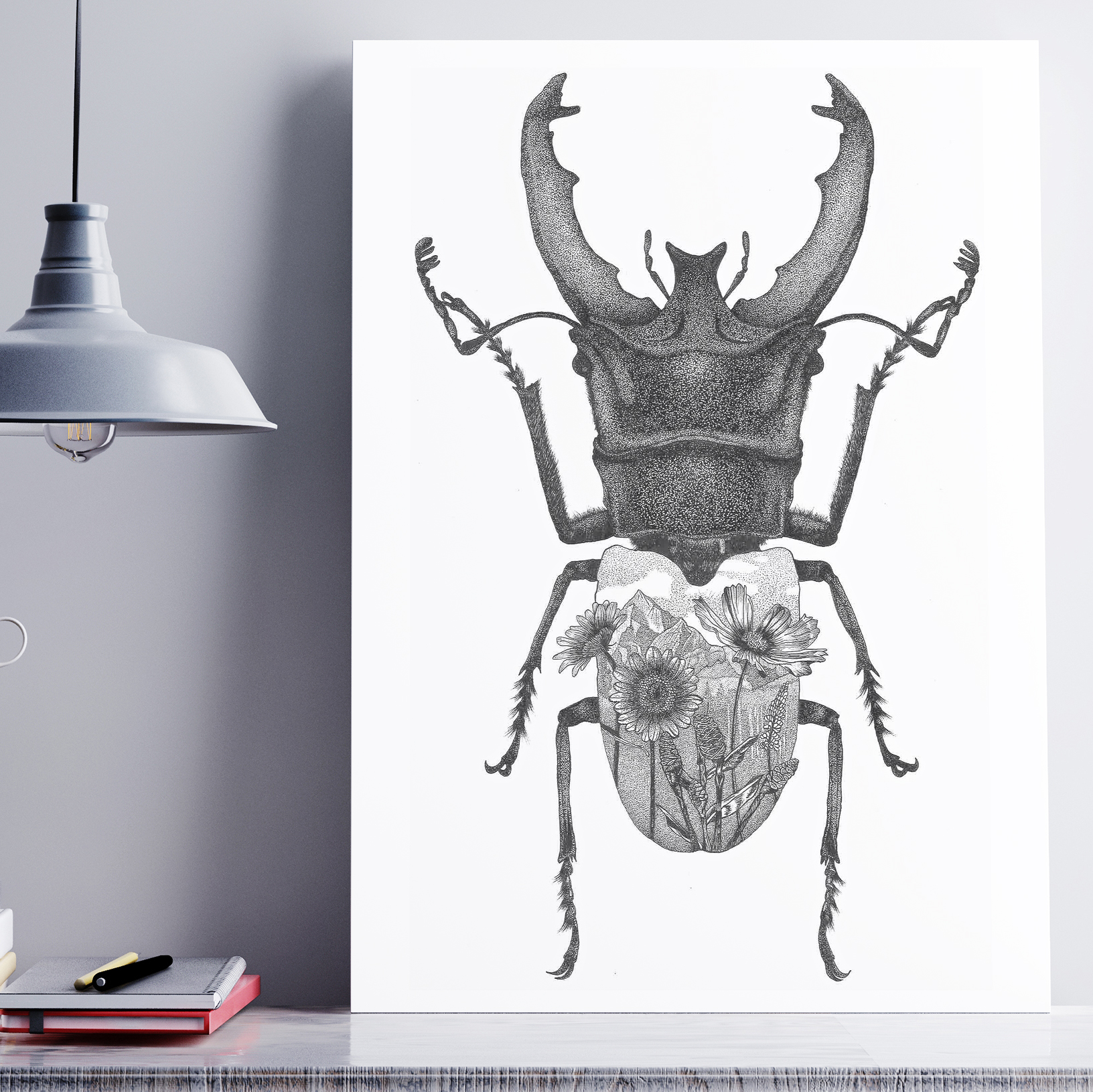 Stag beetle with flowers print