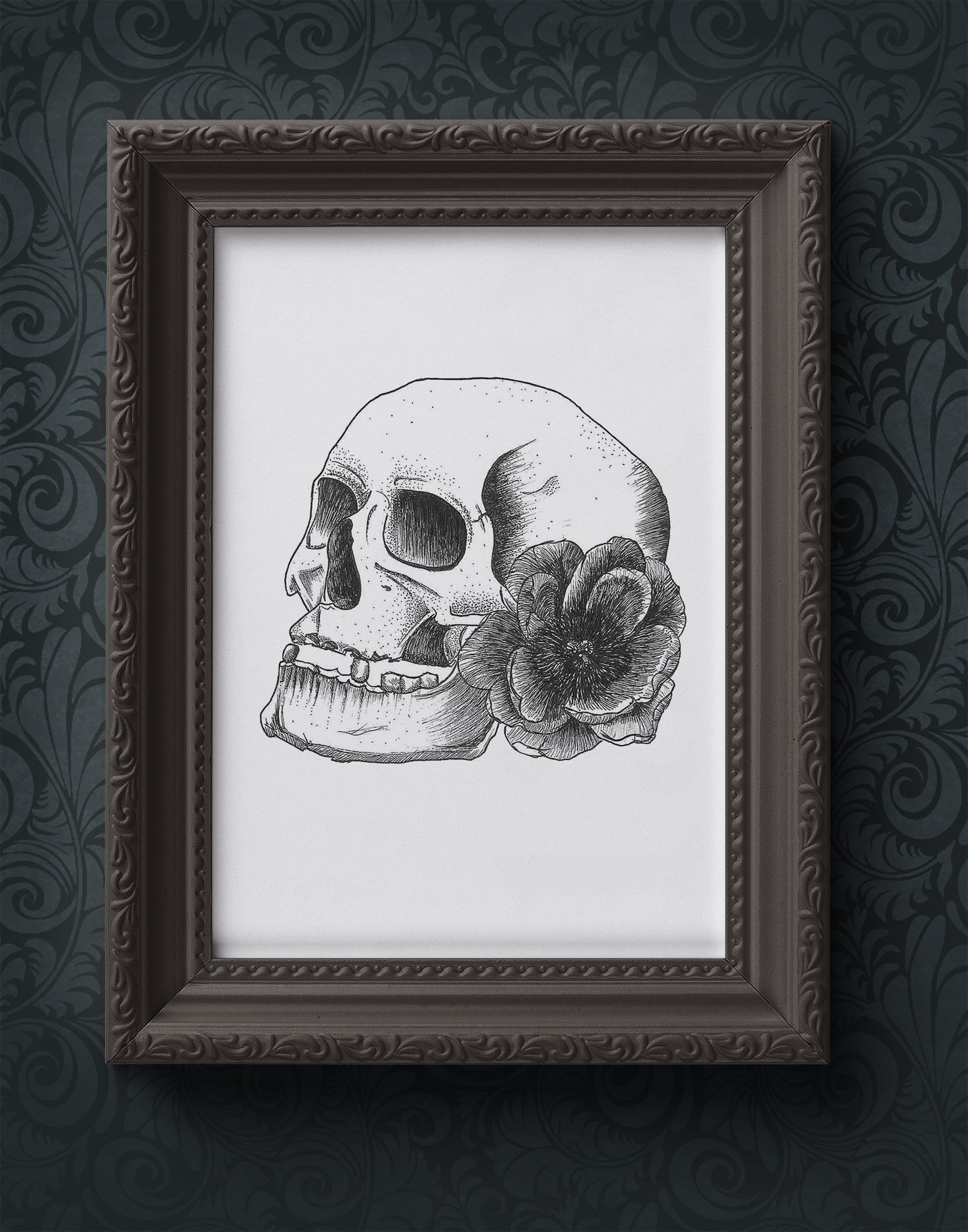 Skull with flower